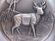 1+ OZ .925 LONGINES WILDLIFE STERLING SILVER FLORDA KEY DEER 3D RELIEF COIN+GOLD