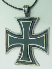 BUTW-  German Iron cross pewter pendant necklace 5004B