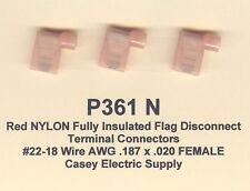 50 Red NYLON Insulated Flag Connector #22-18 Gauge Wire .187 x .020 Female USA
