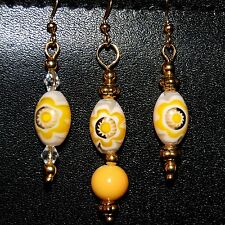 LUSCIOUS LEMON YELLOW MILLEFIORI ART GLASS EARRINGS A14 Made In USA! FAST Ship