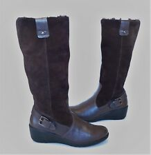 Ladies HOTTER 'PANAMA' brown suede leather winter Boots Size 4.5 Exc Cond