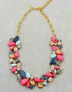 New J.Crew Mixed Stone Gem Statement Necklace Multi Color Crystal - Blue/ Pink