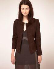 Kookai Collarless Brown Suede Kid Leather Short Jacket UK 10 EU 38 RRP GBP220