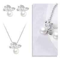 Fashion Wedding Crystal Pearl Butterfly Women Necklace Earrings Jewelry Set