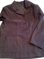 BRIGGS NEW YORK WOMENS L BUTTON UP BROWN SHIRT/JACKET 2 POCKETS STRETCH COLLAR