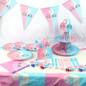 Gender Reveal Baby Shower Boys Girl Unisex Party Supplies Tableware Decorations