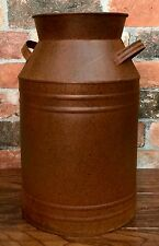 "Tin Metal with Rust Color 13"" Tall Country Milk Can Art Vase"