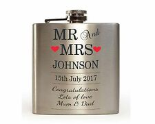 Personalised Mr and Mrs Hip Flask Wedding Gift
