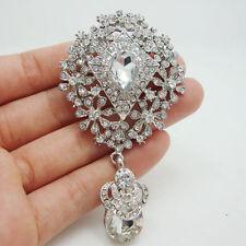 Elegant Flower Drop Bride Wedding Brooch Scarf Buckle Clear Rhinestone Crystal