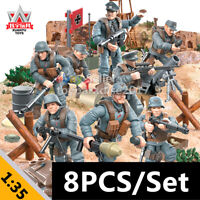 8PCS WW2 Mini Military Soldiers France US Britain Army + Weapon Figures COD