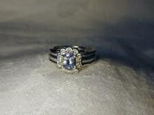Gorgeous Estate 14K White Gold Solitaire Tanzanite Diamond Ring