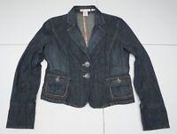 Nine & Co. Womens 6 Blue Cotton Blend Stretch Denim Jean Jacket Blazer