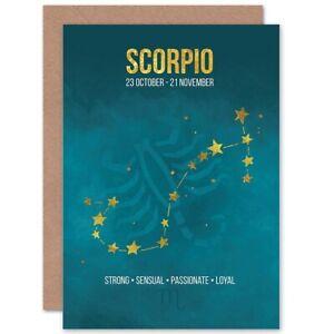 Scorpio Star Sign Birthday Card Astrology Zodiac Blank Greeting Card