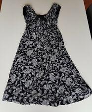 Zwarte jurk met witte print / Large (40)