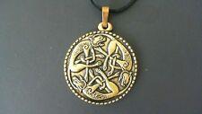 Irish Cats Brass Pendant Leather Necklace! New Ireland Celtic Scottish Welsh