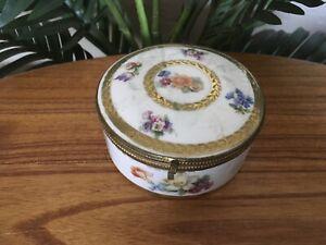 *Rare* Antique German Hinged Floral Porcelain Mirrored Powder Trinket Box