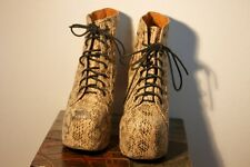 Jeffrey Campbell Leather Snakeskin Lita Booties Size 6.5