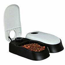 Automatic 2 Meal Pet Feeder Dog Cat Food Dispenser Station Bowl Timer Dish Feed