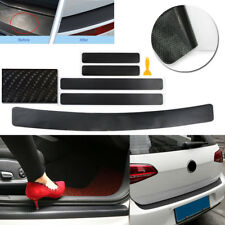 5pcs Black Carbon Fiber Vinyl 4D Car Door Trunk Rear Plate Sill Panel Protector