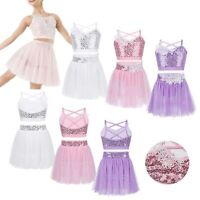Girls Figure Skating Twirling Dance Costume Outfit Tulle Tutu Skirt Set Sequined