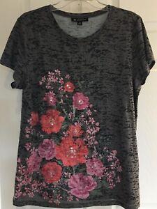 INC Gray Black Pink Beaded Embellished Stretch Tee Shirt Size XL NWOT