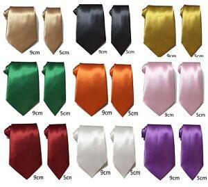 Men Plain Satin Silky Tie Skinny Standard Classic Wide Wedding Business Prom UK
