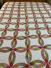 "Vintage Double Wedding Ring Cheater Quilt 64"" x 82"" twin sz"