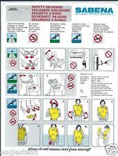 Safety Card - Sabena - BAe 146 - c1994 (S3588)