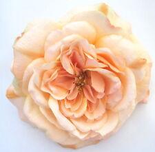 "Large 5 1/2"" Peach Rose Silk Flower Hair Clip, Wedding, Prom, Dance, Bridal"