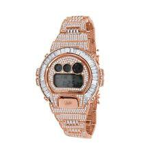Rose Gold 2 Tone Custom Baguette Round Cut Authentic Casio G-Shock DW 6900 Watch