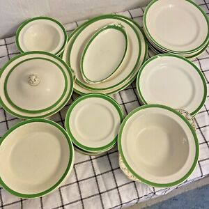 36 pieces Queens Green Dinner Service Plates SOLIAN WARE Vintage 1930's 1940's