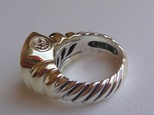 $1250 DAVID YURMAN 14/K GOLD,SILVER LEMON CITRINE LARGE NOBLESSE RING