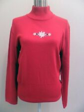 Bogner Edelweiss Turtle Neck Wool Knit Red Pullover Size 12 Large VGUC