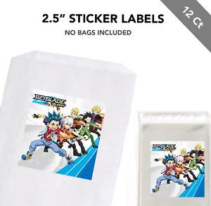"12 Beyblade Burst Anime 2.5"" Sticker Labels for Bag Treat Box Party Favor"