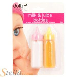 Dolls World Magic Disappearing Liquid MIlk & Juice Bottle Accessory Set