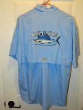 """""""COLUMBIA"""" Blue Marlin Embroider back panel shirt Men's L in EXCELLENT Condition"""