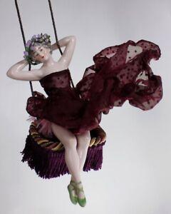 Art Deco Rare Dresden Galluba era Nude Porcelain Lady Doll on Swing Figurine