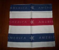 """America"" Multi-Stripe Red White Blue 18""X18"" Quality Cotton Fabric Napkin NEW"
