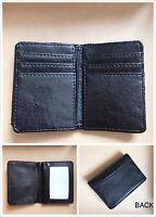New Mens Bifold Leather ID Wallet Black Multi Holder Credit Card Slot Window C18