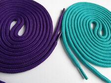 2 Pairs 100cm Round Laces Purple / Aqua Green Trainers Walking Skate Shoes