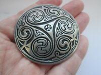 Vintage Signed St Justin Celtic Spiral Pewter Metal Shield Round Brooch Kilt Pin