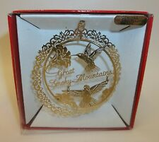 Great Smokey Mountains Christmas Ornament Hummingbirds 22K Flashed Brass - Mib
