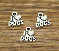 20 I Love Dog Charms Animal Word Charm Jewelry Antique Silver Tone 13x14mm 2586