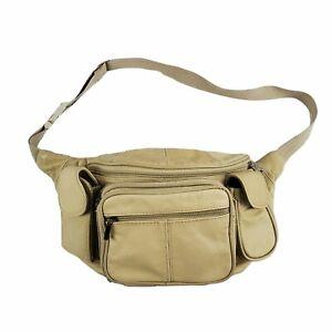 Oversized Fanny Pack Waist Bag Leather Adjustable Belt- Cream Off White Ivory