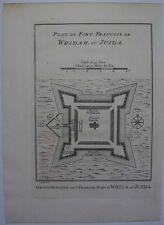 1740s ENGRAVING PLAN FRENCH FORT WHYDAH OUIDAH DAHOMEY WEST AFRICA SLAVE TRADE