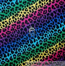 BonEful Fabric Cotton Quilt Rainbow Black Red Pink Leopard Cheetah Hippie SCRAP