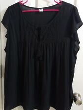 Old Navy Woman's Size XXL Shirt  Black Pleated Front With Tie Cap Sleeve Top