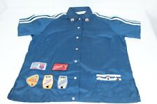 Vintage Blue Hilton Size 40 Women's Bowling Shirt Patches Pins BPA WIBC