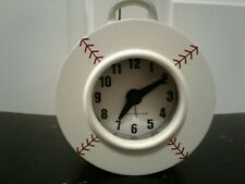 "Pottery Barn Kids Baseball Alarm Clock With Red ""Stitching"" Battery Operated EUC"
