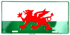 Wales Flag Dragon Embossed Metal License Plate Baner Cymru or Y Ddraig Goch tag